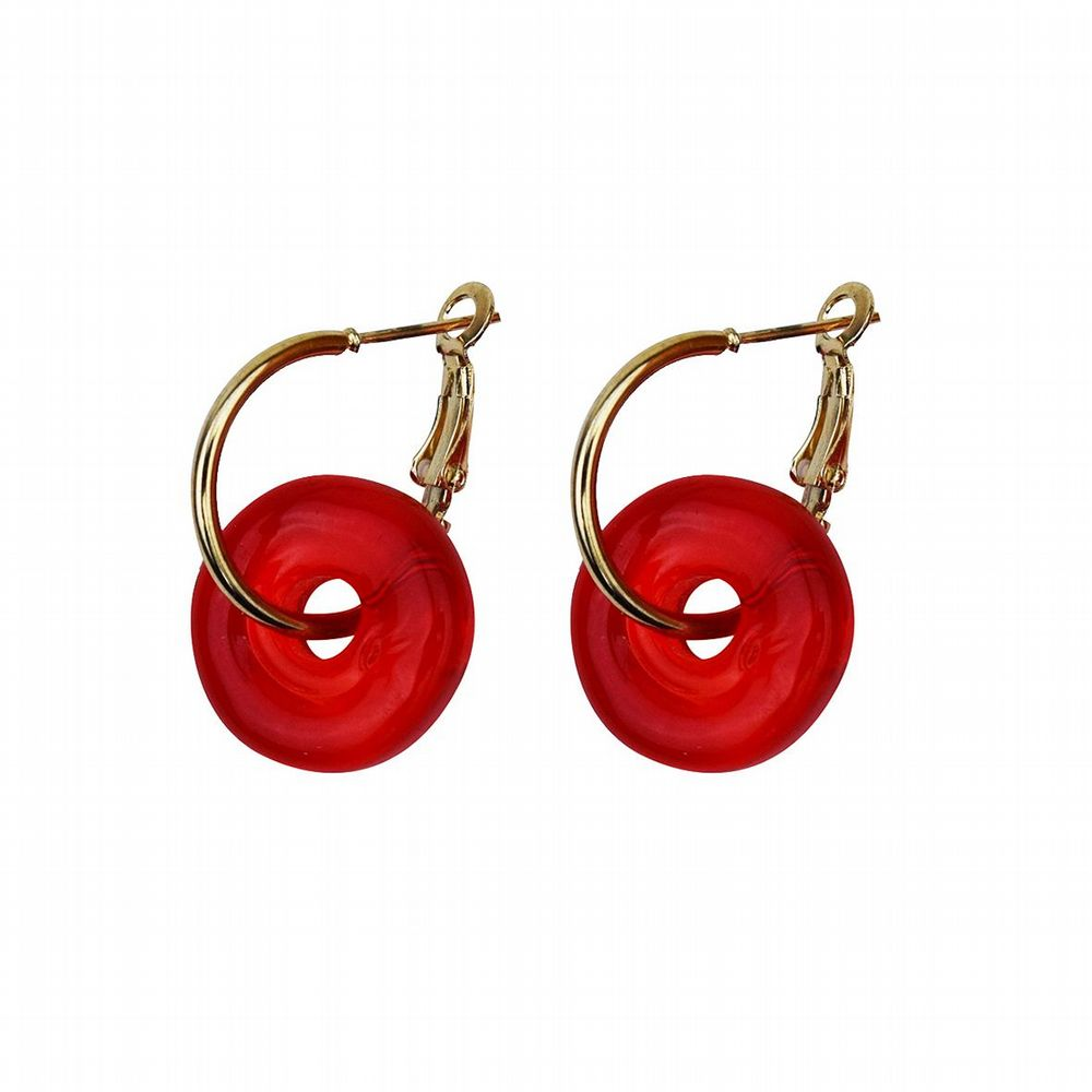 Murano Glass Earrings - Red & Gold